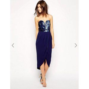 TFNC Bandeau Midi Dress With Sequin Bodice 2